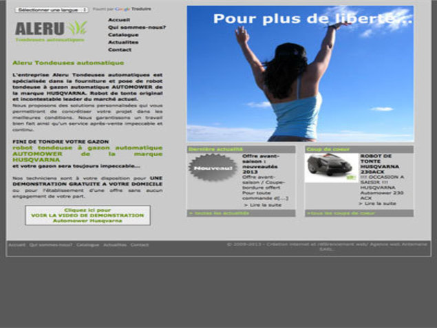 Antemene, créateur de sites web à Nîmes, Gard | Aleru Tondeuses Automatiques Automower Husqvarna, e-commerce , -1